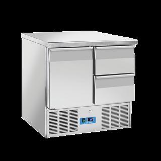 Ανοξείδωτο επαγγελματικό ψυγείο πάγκος συντήρηση 1 πόρτα & 2 συρτάρια  CH-CRD92Α ENERGY CLASS C  90x70X88 εκ