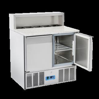 Ανοξείδωτο επαγγελματικό ψυγείο πάγκος συντήρηση 2 πόρτες SALADETTE ΜΕ ΓΡΑΝΙΤΗ  CH-CRP90Α  90x70X109 εκ