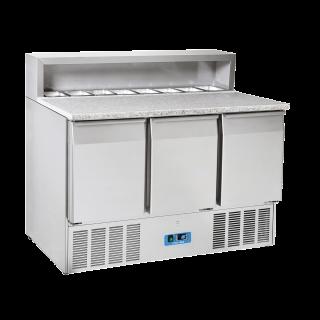 Ανοξείδωτο επαγγελματικό ψυγείο πάγκος συντήρηση 3 πόρτες SALADETTE ΜΕ ΓΡΑΝΙΤΗ  CH-CRP93Α  136,5x70X109 εκ