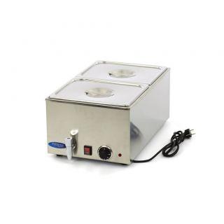 Επαγγελματικό Bain Marie ηλεκτρικό επιτραπέζιο 2 GN 1/2 με βρυσάκι & καπάκια 33,8X54X24,8 εκ MAX-09300010