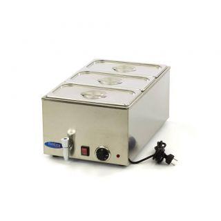 Επαγγελματικό Bain Marie ηλεκτρικό επιτραπέζιο 3 GN 1/3 με βρυσάκι & καπάκια 33,8X54X24,8 εκ MAX-09300011