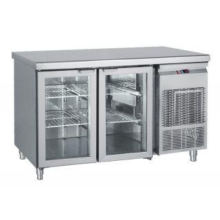 Ψυγείο πάγκος συντήρηση με 2 κρυστάλλινες πόρτες 139X70X85 εκ BM-PGG139