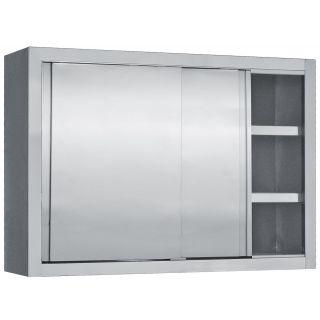 Πιατοθήκη με συρόμενες πόρτες Inox 160x35x70 εκ BM-PI160