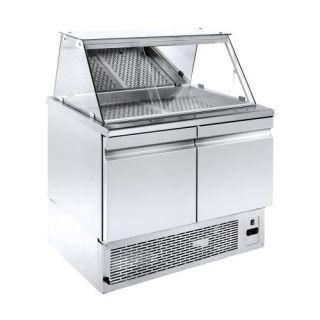 Ψυγείο Βιτρίνα Ψαριέρα επιδαπέδια  με αποθήκη 89X70X130 εκ NK-PSGN089KT