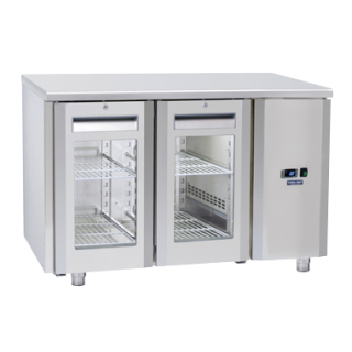 Ανοξείδωτο επαγγελματικό ψυγείο πάγκος συντήρηση ΜΕ ΚΡΥΣΤΑΛΛΙΝΕΣ ΠΟΡΤΕΣ ΧΩΡΙΣ ΜΗΧΑΝΗ CH-QRG2100SG  138x70X85 εκ