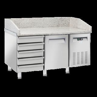 Ψυγείο πίτσας επαγγελματικό συντήρηση με γρανίτη  με 1 πόρτα & 5 συρτάρια ανοξείδωτο CH-QZ16  150X80X104 εκ ENERGY CLASS C