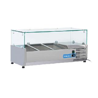 Ψυγείο βιτρίνα σαλατών επιτραπέζιο ανοξείδωτο  επαγγελματικό για 2xGN1/3 + 1xGN1/2  CH-VRX10/38 100x39.5x44 εκ