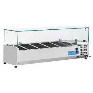 Ψυγείο βιτρίνα σαλατών επιτραπέζιο ανοξείδωτο επαγγελματικό για 5 GN 1/4  CH-VRX12/33 120X33,5X44 εκ