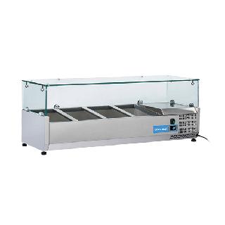 Ψυγείο βιτρίνα σαλατών επιτραπέζιο ανοξείδωτο  επαγγελματικό για 3xGN1/3 + 1xGN1/2  CH-VRX12/38 120x39,5x44 εκ