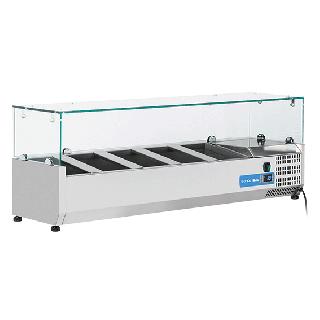 Ψυγείο βιτρίνα σαλατών επιτραπέζιο ανοξείδωτο επαγγελματικό για 5 GN 1/4  CH-VRX13/33 130X33,5X44 εκ