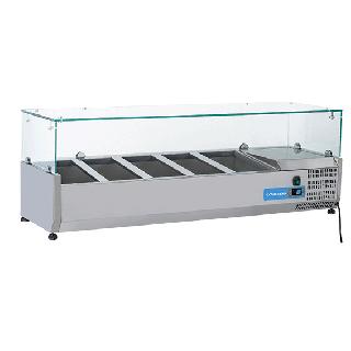Ψυγείο βιτρίνα σαλατών επιτραπέζιο ανοξείδωτο  επαγγελματικό για 5xGN1/3  CH-VRX13/38 130x39,5x44 εκ