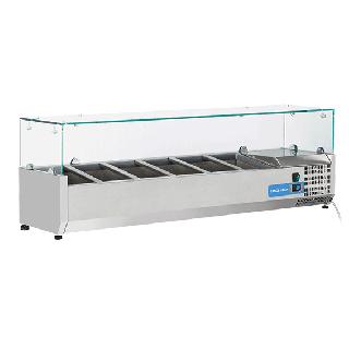 Ψυγείο βιτρίνα σαλατών επιτραπέζιο ανοξείδωτο επαγγελματικό για 6 GN 1/4  CH-VRX14/33 140X33,5X44 εκ