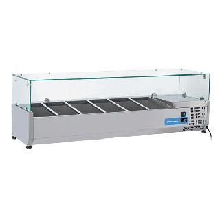 Ψυγείο βιτρίνα σαλατών επιτραπέζιο ανοξείδωτο  επαγγελματικό για 6xGN1/3  CH-VRX14/38 140x39,5x44 εκ