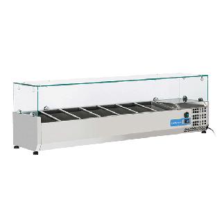 Ψυγείο βιτρίνα σαλατών επιτραπέζιο ανοξείδωτο επαγγελματικό για 7 GN 1/4  CH-VRX15/33 150X33,5X44 εκ
