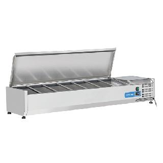 Ψυγείο βιτρίνα σαλατών επιτραπέζιο ανοξείδωτο  επαγγελματικό για 7 GN 1/4  CH-VRX 15/33S/S 150X33,5X28,1 εκ
