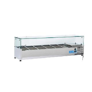Ψυγείο βιτρίνα σαλατών επιτραπέζιο ανοξείδωτο  επαγγελματικό για 5xGN1/3 + 1xGN1/2  CH-VRX15/38 150x39,5x44 εκ