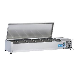 Ψυγείο βιτρίνα σαλατών επιτραπέζιο ανοξείδωτο  επαγγελματικό για 5xGN1/3 + 1xGN1/2 CH-VRX 15/38S/S 150x39.5x28,1 εκ