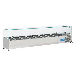 Ψυγείο βιτρίνα σαλατών επιτραπέζιο ανοξείδωτο  επαγγελματικό για 8xGN1/3  CH-VRX18/38 180x39,5x44 εκ