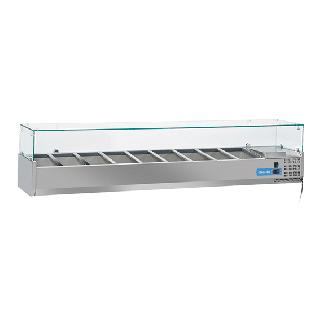 Ψυγείο βιτρίνα σαλατών επιτραπέζιο ανοξείδωτο  επαγγελματικό για 9xGN1/3  CH-VRX20/38 200x39,5x44 εκ