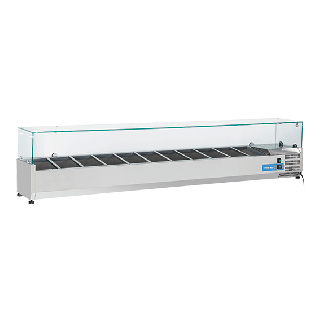 Ψυγείο βιτρίνα σαλατών επιτραπέζιο ανοξείδωτο επαγγελματικό για 11 GN 1/4  CH-VRX22/33 220X33,5X44 εκ