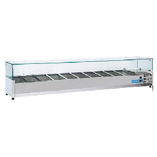 Ψυγείο βιτρίνα σαλατών επιτραπέζιο ανοξείδωτο  επαγγελματικό για 10xGN1/3  CH-VRX22/38 220x39,5x44 εκ