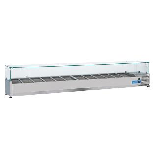 Ψυγείο βιτρίνα σαλατών επιτραπέζιο ανοξείδωτο  επαγγελματικό για 12xGN1/3  CH-VRX25/38 250x39,5x44 εκ